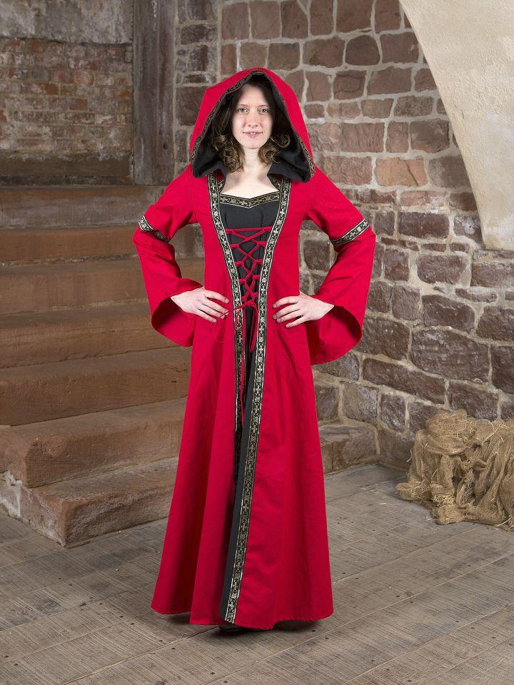 Mittelalterkleid Brida rot-schwarz 2