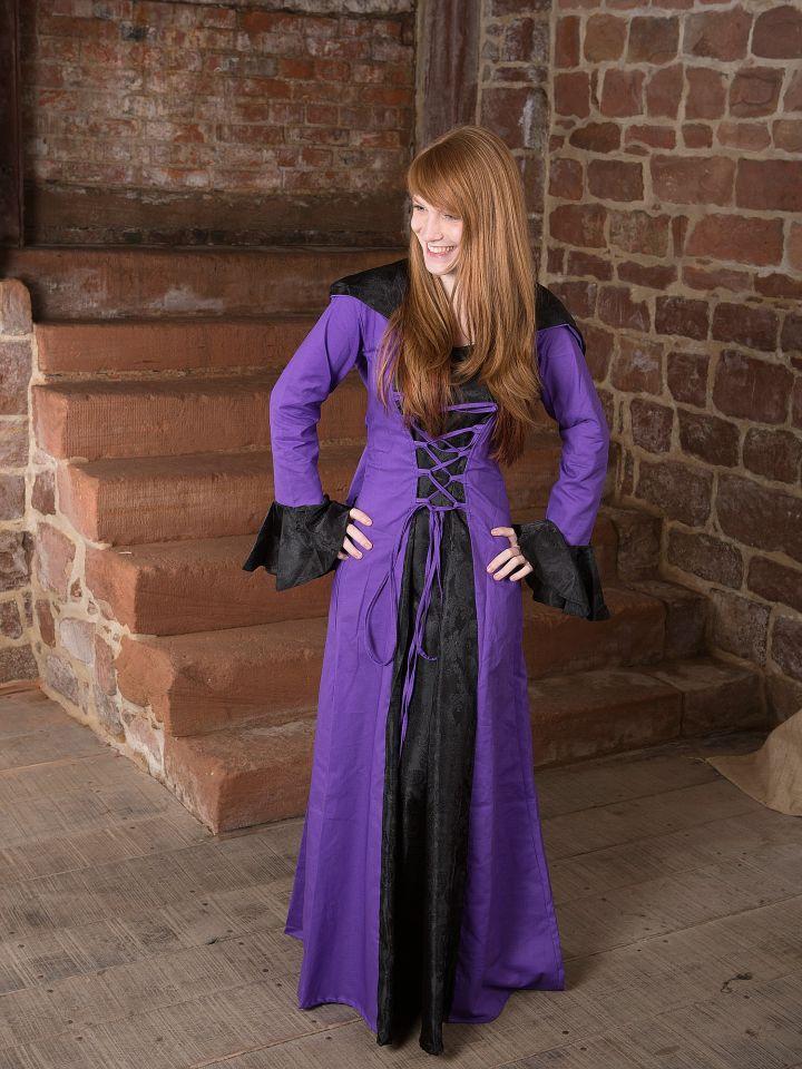 Mittelalterkleid Clara, schwarz-lila 2