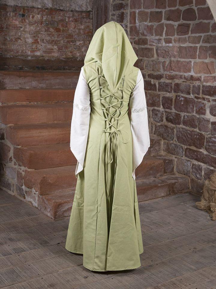 Mittelalterkleid Irmel grün-weiß 2