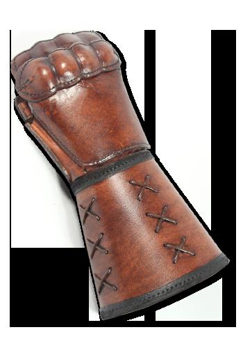 Brauner Panzerhandschuh aus Leder 2