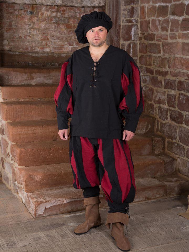 Landsknechthemd schwarz/rot 2