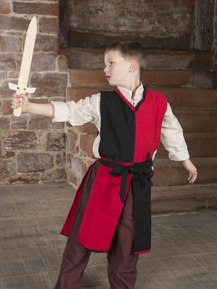 Kinder-Waffenrock mit Bindegürtel rot-schwarz 2