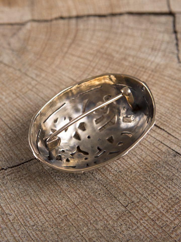 Große Ovalfibel mit Drache aus Bronze 2