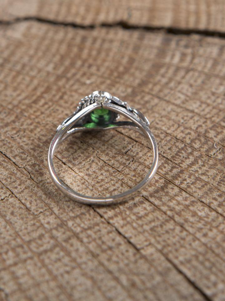 Silberring mit grünem Zirkonia 2