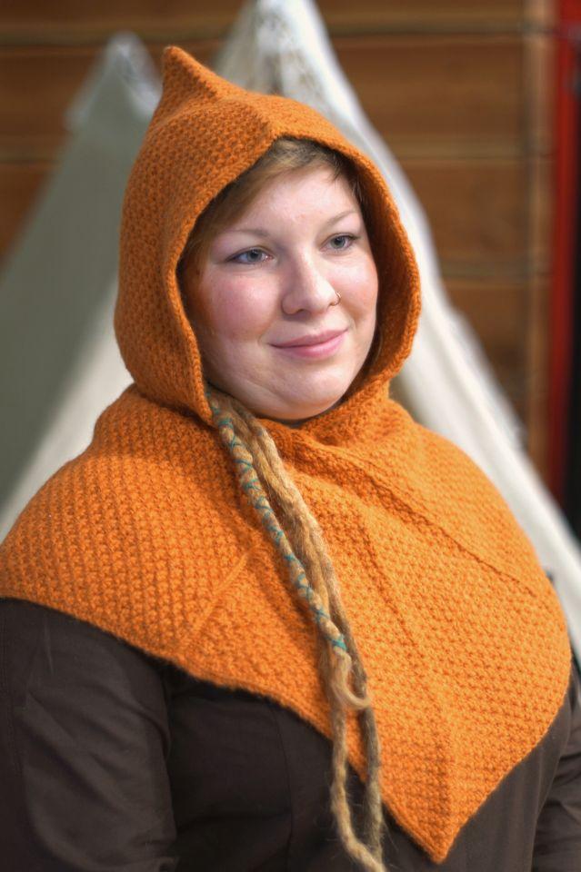 Woll-Strick Gugel Asbjorn orange 2