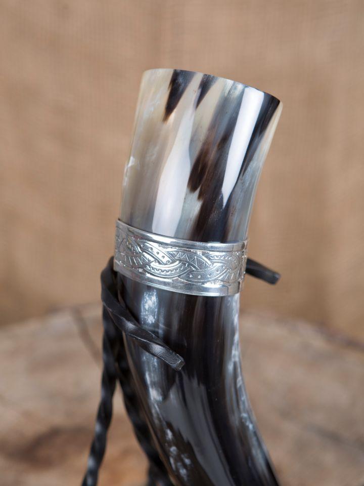 Trinkhorn 0,5 l mit Wikinger-Zinnband 2