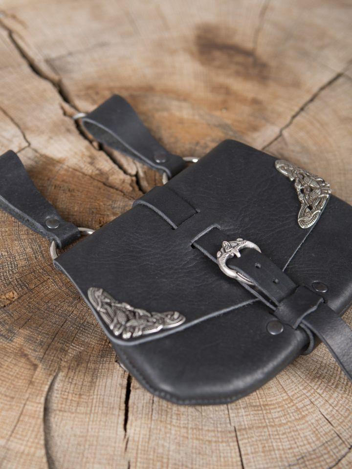 Frühmittelaltertasche mit Beschlägen schwarz 3
