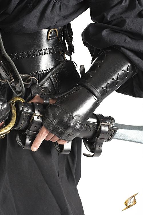 Schwarzer Panzerhandschuh aus Leder für die linke Hand 3