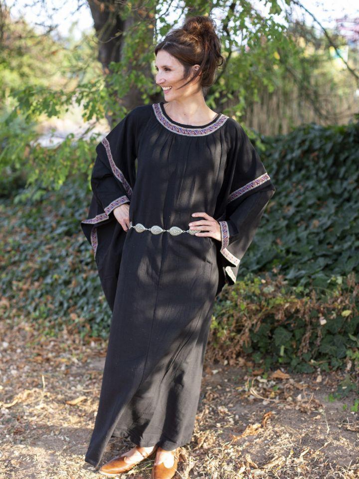 Mittelalterkleid mit Bordüre schwarz M 3