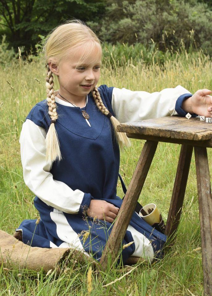 Wikingerkleid für Kinder blau/natur 3