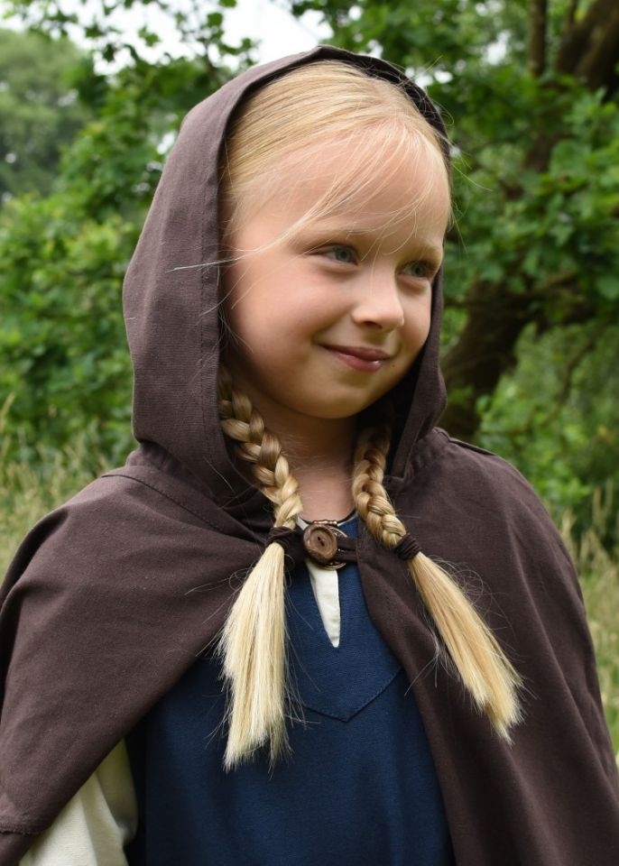 Mittelalter-Umhang für Kinder braun 128 3