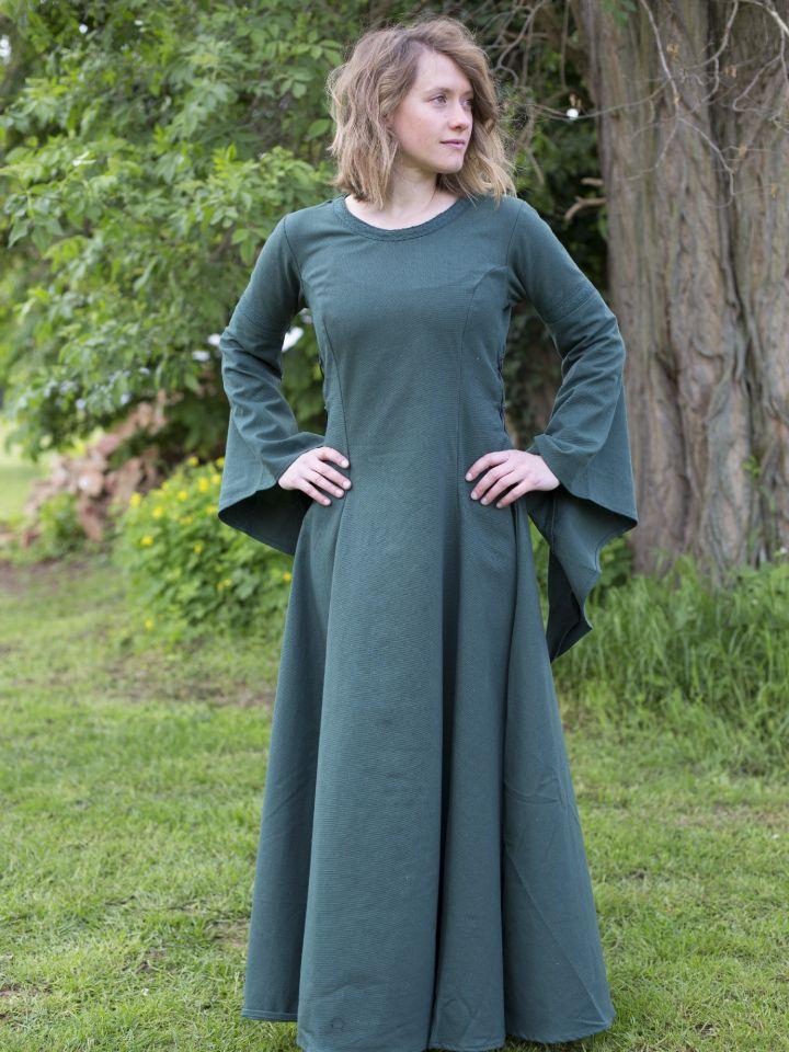 Edles Kleid mit Trompetenärmeln grün 3