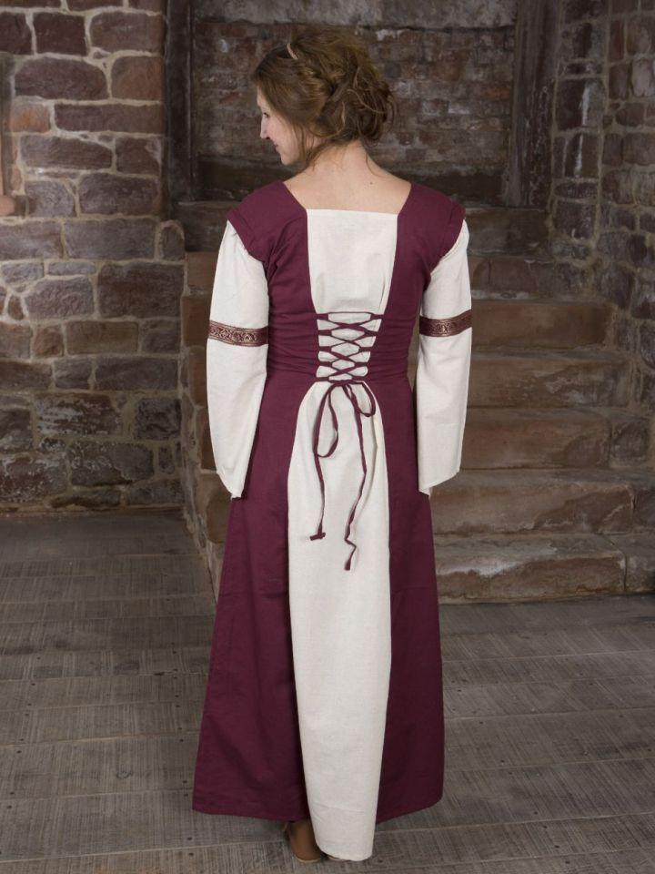 Mittelalterkleid mit abnehmbaren Ärmeln rot-natur S/M 3