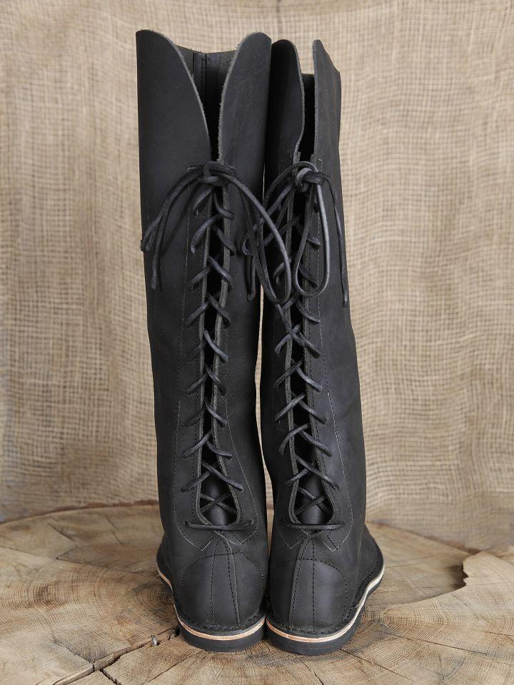 Hohe Lederstiefel aus Nubukleder schwarz 3