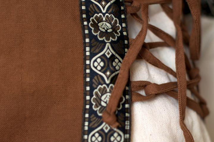 Kleid mit Borte braun-natur 3