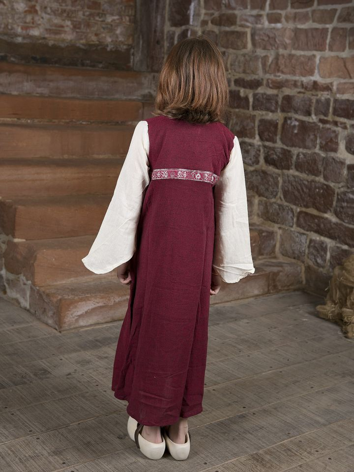 "Kinderkleid ""Piccolina"" rot-natur 116 3"
