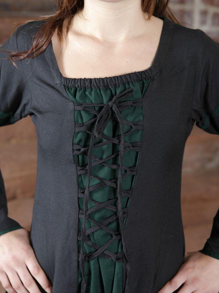 Mittelalterkleid aus Viskose schwarz-grün 3