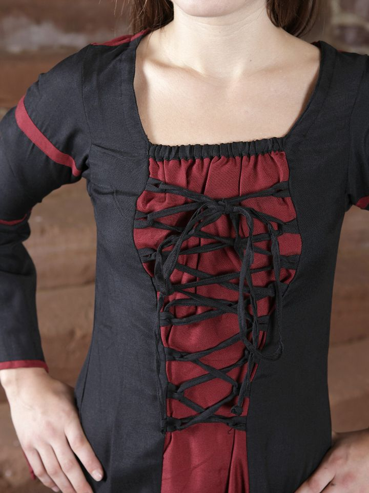 Mittelalterkleid aus Viskose schwarz-rot L 3
