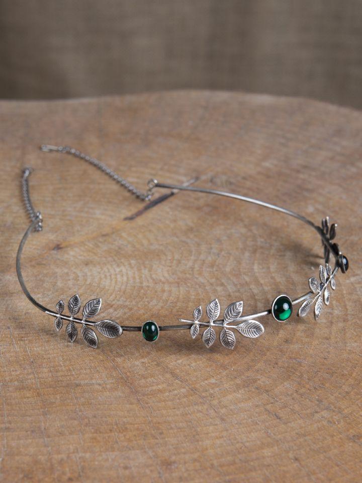 Diadem mit Zweigen und dunkelgrünen Schmucksteinen 3