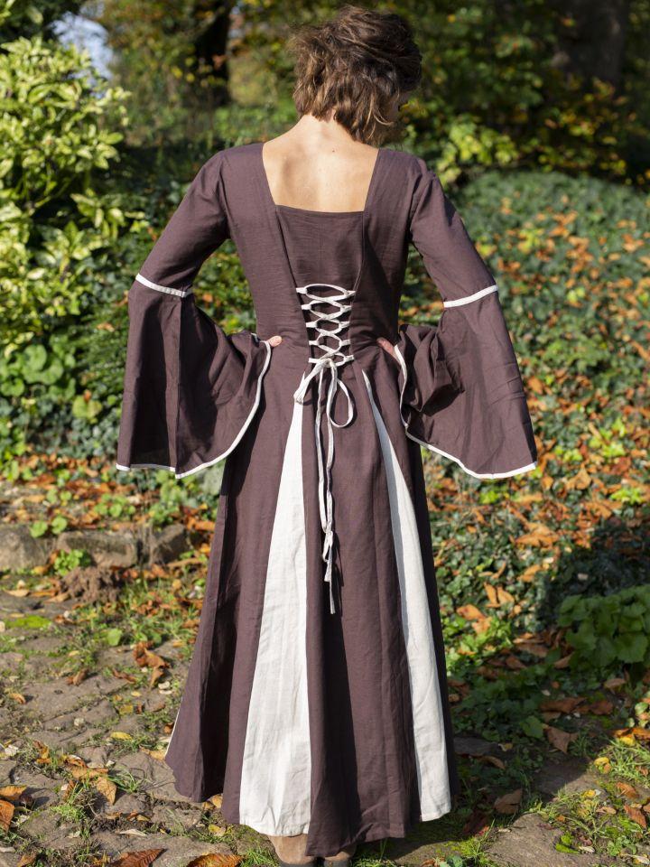 Mittelalterkleid mit Zierknöpfen braun-natur 3