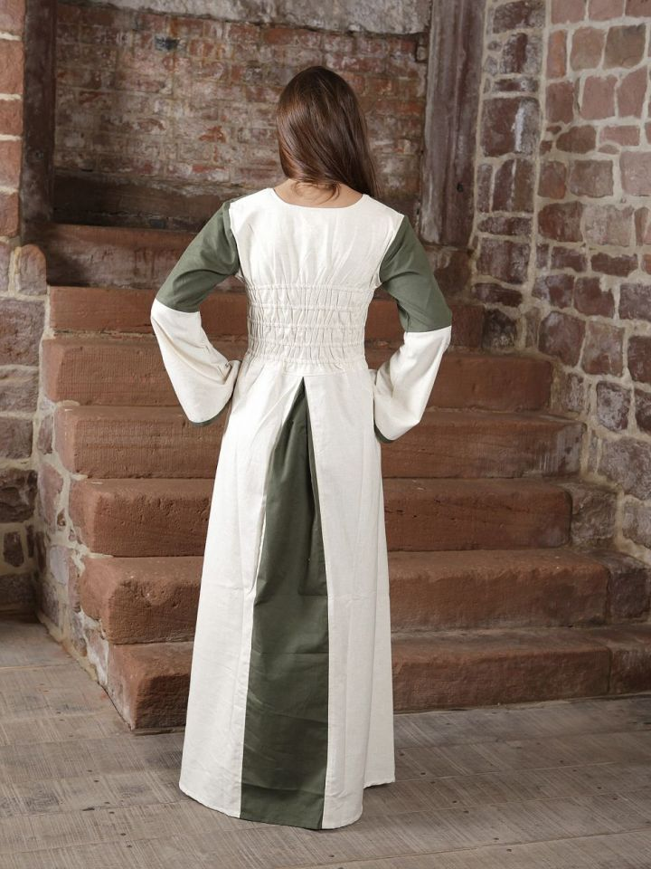 Kleid zweifarbig mit Schnürung in natur-olive S/M 3