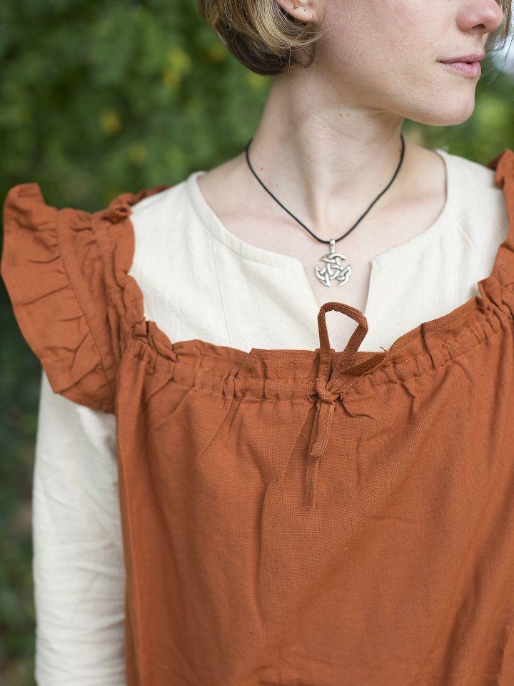 Ärmelloses Kleid mit Schulterrüsche rostrot 3