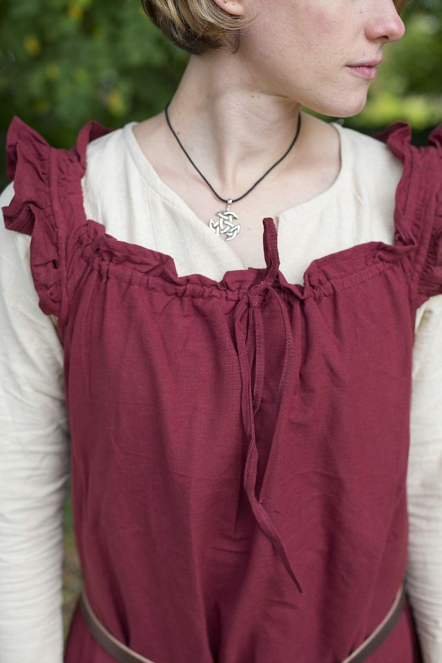 Ärmelloses Kleid mit Schulterrüsche weinrot 3