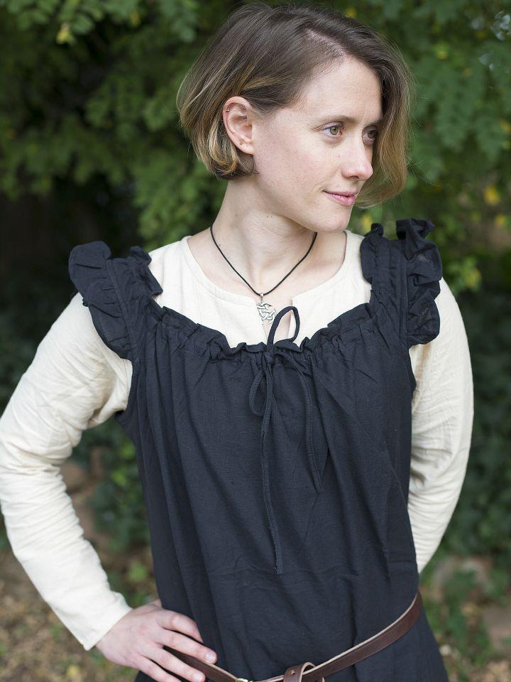 Ärmelloses Kleid mit Schulterrüsche schwarz 3