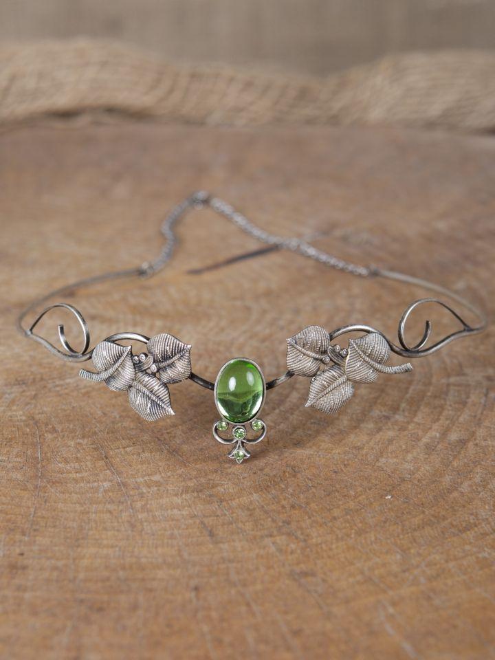 Kronen-Tiara mit Blättern und hellgrünem Schmuckstein 3