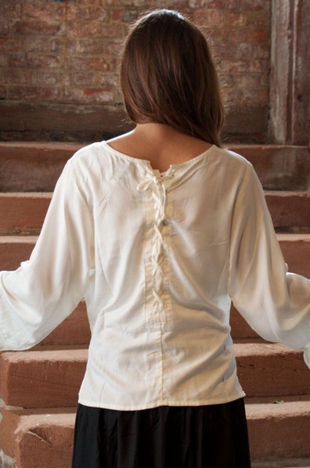 Damenbluse mit Rückenschnürung M | natur 3