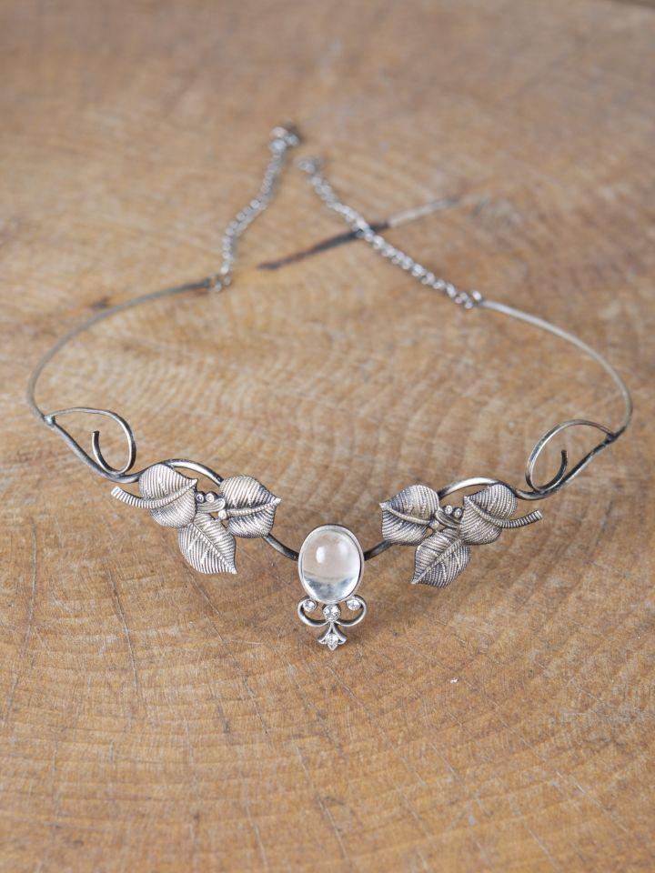 Kronen-Tiara mit Blättern und Kristall 3