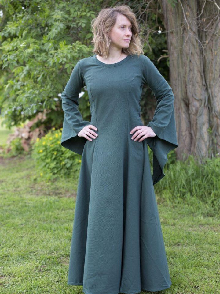 Edles Kleid mit Trompetenärmeln grün L 3