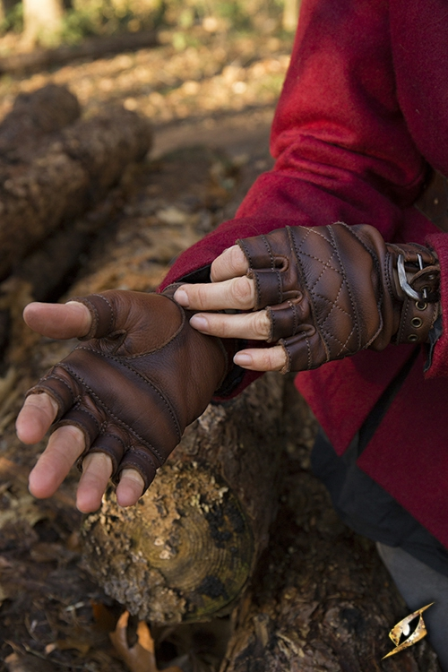 Keltische Lederhandschuhe braun S 3