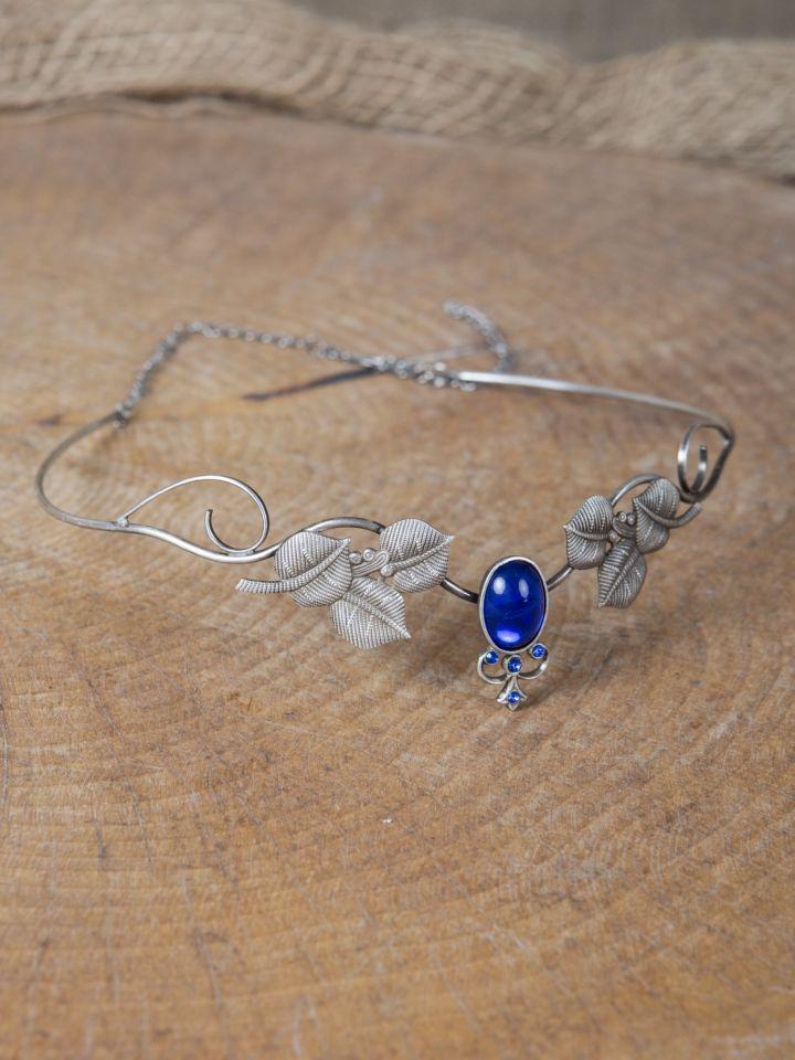 Kronen-Tiara mit Blättern und blauem Schmuckstein 3
