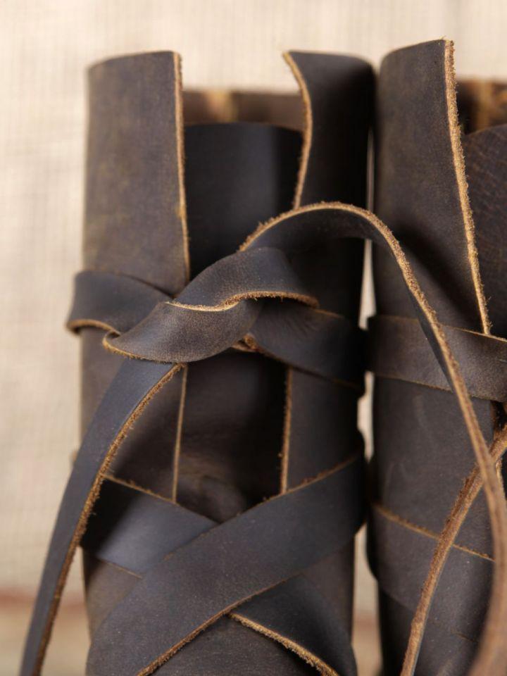 Wikingerstiefel mit Ledersohle braun 3