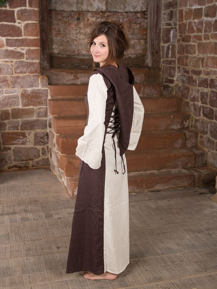 Mittelalterkleid mit Kapuze in natur-braun 3