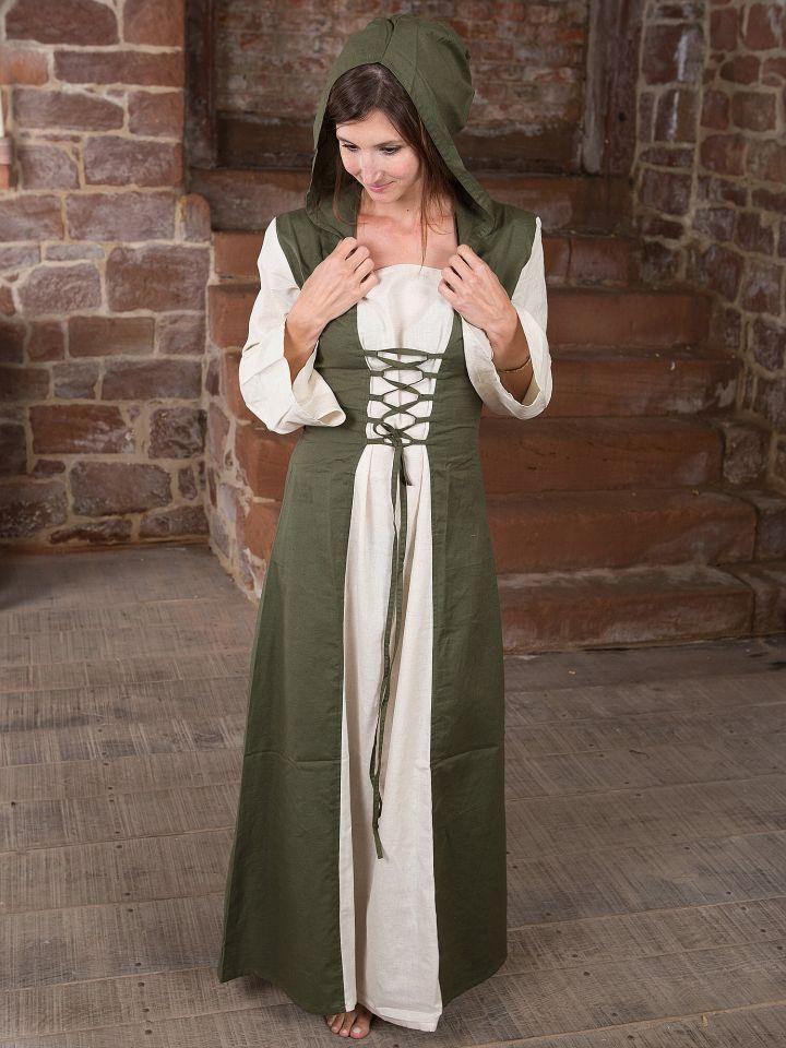 Mittelalterkleid mit Kapuze in natur-oliv 3