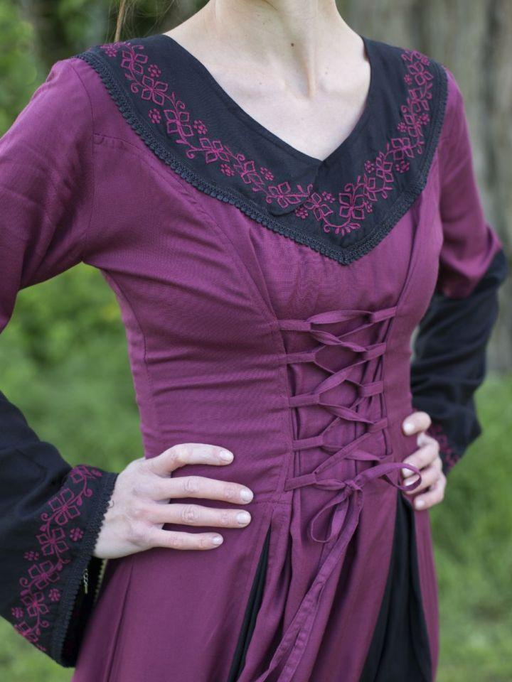 Mittelalterkleid mit Stickerei rot-schwarz S/M 3