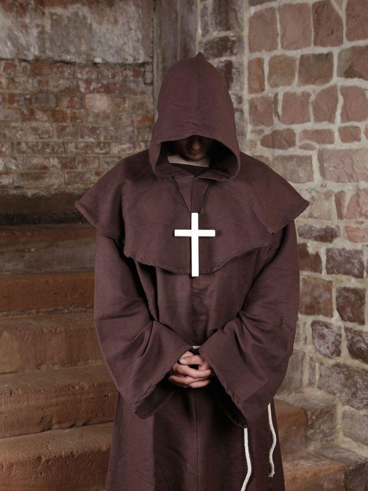 Mönchskutte (mit Kapuze und Seil) braun   mit Kreuz 3
