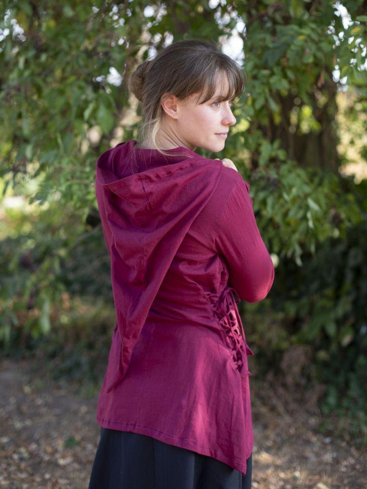 Bluse mit Zipfelkapuze bordeauxrot M 3