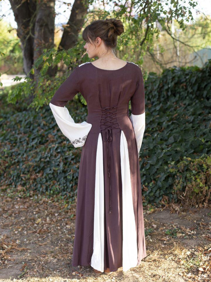 Mittelalterkleid mit Stickerei braun-weiß S/M 3