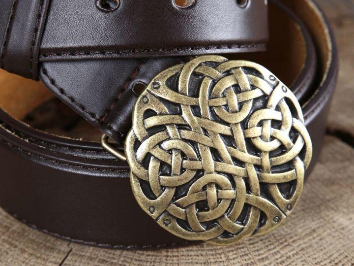 Ledergürtel Keltischer Knoten braun 3
