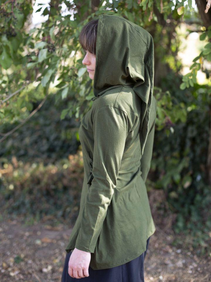 Bluse mit Zipfelkapuze grün 3