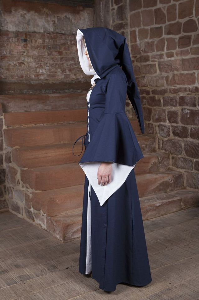 Mittelalterkleid Luca blau-weiß 38 3
