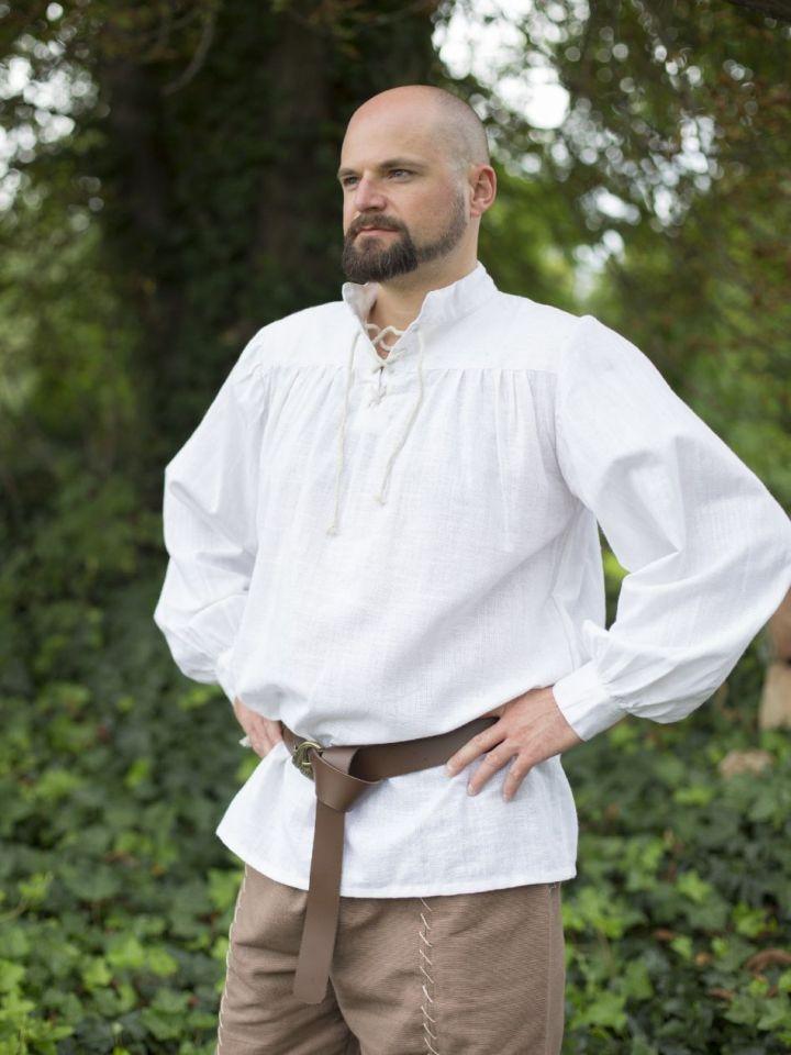 Mittelalterhemd Leinen M | weiß 3