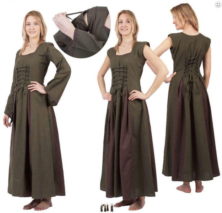 Mittelalterkleid Alina oliv-braun XXL 3
