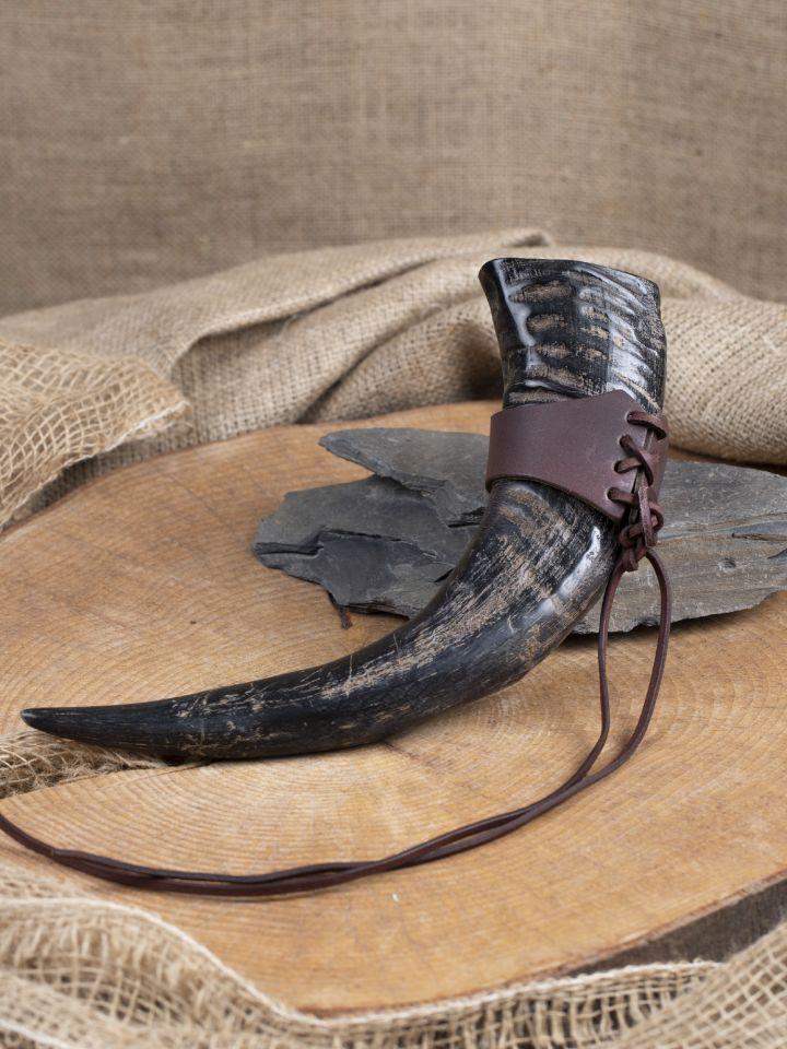 Rustikales Wasserbüffel-Trinkhorn, ca. 0,5 l 3
