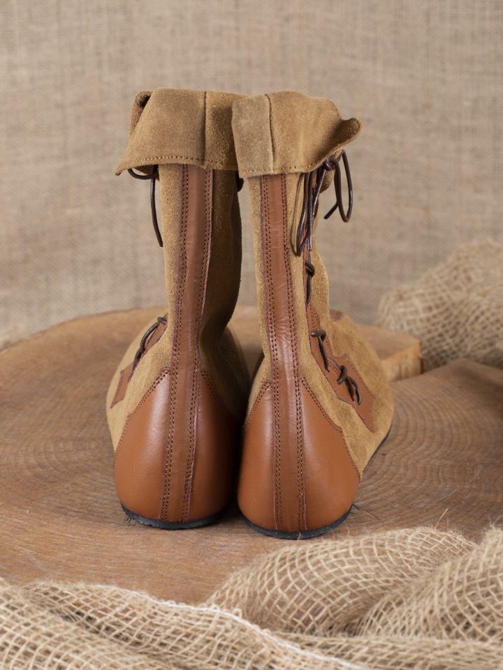 Mittelalter Stiefel mit Seitenschnürung braun 3