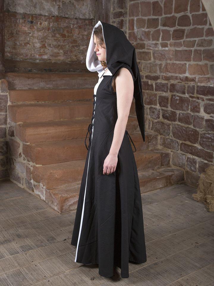 Mittelalterkleid Lucia schwarz-weiß 3