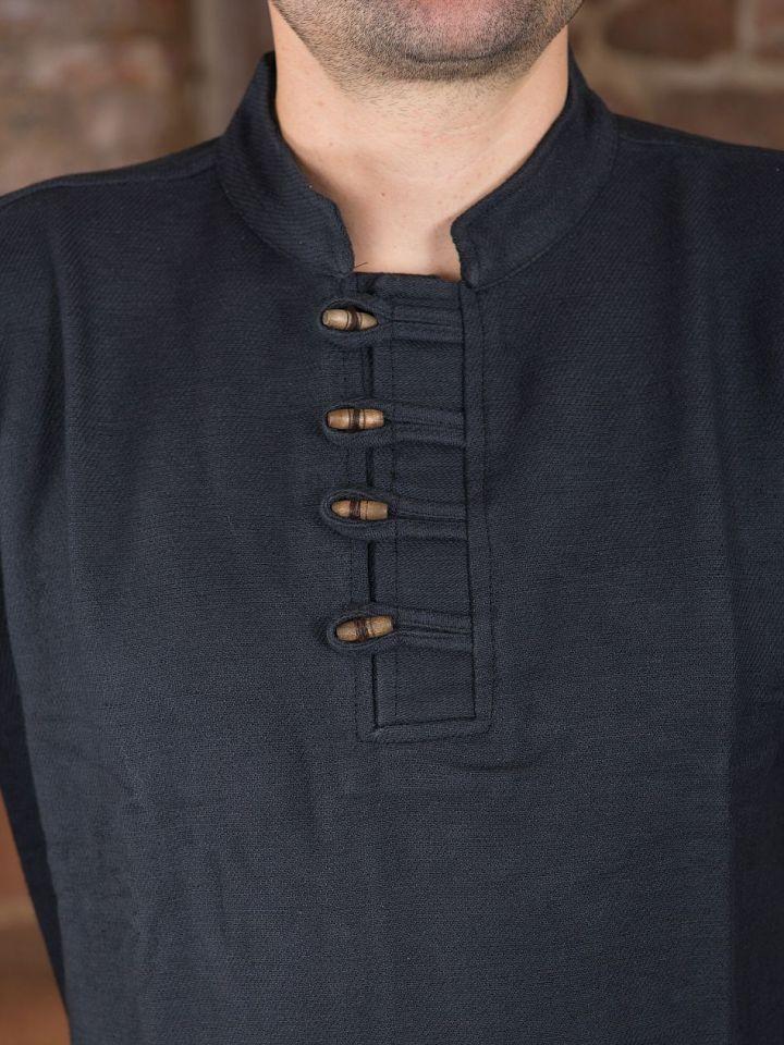 Dickes Stehkragenhemd mit Knopfleiste natur M 3